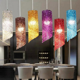 Wholesale purple halogen lights - Simple restaurant lamp chandelier dining room bar Pendant Lights single head creative personality cylindrical long aluminum lamp