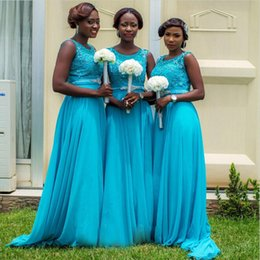 Wholesale red chiffon ribbon - Turquoise Blue African Bridesmaid Dresses 2018 Elegant Appliques Lace Chiffon Beading Floor Length Long Bridesmaid Gowns