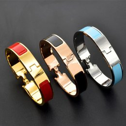 men gold chain sets Coupons - Classic fashion 316L Stainless Steel Men Bracelet Bangle jewel gift Good quality Large H letters Bracelets & Bangles Jewelry for women 12MM