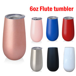 Wholesale double walled tumbler stainless - 6oz flute Wine Tumblers stemless Rose Gold Stainless steel tumbler wine glasses cup Double Walled Vacuum Insulated egg cups with lid