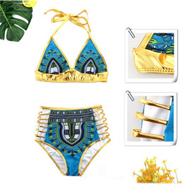 Wholesale bath two - African Print Bikini Set Sexy Geometric Swimwear Hollow out Swimsuit Gold High Waist Swimming Suit Two-Pieces Bath Suits 2863