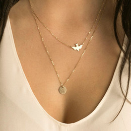 punk minimalist Coupons - Wholesale- NK123 Punk Multilayer Necklaces For Women Peace Pigeon Birds Collares Minimalist Jewelry Circle Dainty Pendant Necklace Gift