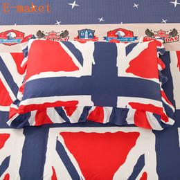 2020 flores rojas ropa de cama verde 100% algodón bandera nacional PillowCase, flor de impresión geométrica ropa de cama verde / rojo funda de almohada de encaje Ruff American Style flores rojas ropa de cama verde baratos