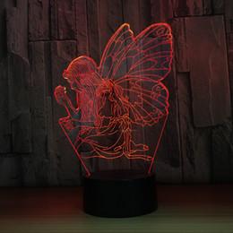 großhandel fee lampe nacht lichter Rabatt Blumen-Fee 3D LED optische Täuschungs-Lampen-Nachtlicht DC 5V USB, das 5. Batterie-Großhandel Dropshipp auflädt Freies Verschiffen