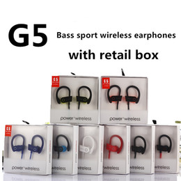 Wholesale Earphones Mic Iphone Retail - G5 earphones universal bluetooth headphones wireless Sports Running Headsets Ear Hook Earbuds With Mic for iphone samsung with retail box