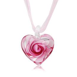 Серьги внутри онлайн-Сердце с розовыми цветами внутри Lampwork Murano Итальянские венецианские стекла Модные серьги Ожерелье Ювелирные наборы Ювелирные изделия ручной работы