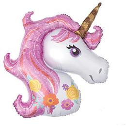 Fumetto di aerostato di aria online-50 pz / lotto più piccolo arcobaleno unicorno palloncino unicorno compleanno festa decorazioni aria globos forniture palloncini giocattoli per bambini