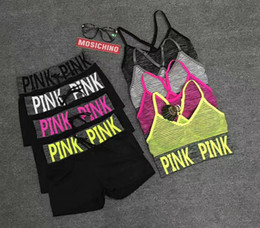Wholesale print one sided - Love Pink Women Sportswear Letter Printed Summer Tracksuit Running Yoga Top Vest Pants Underwear 2pcs set Ladies outfits BBA55