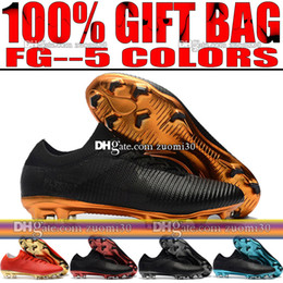 Wholesale Soccer Football Boots Brand - Brand Original Low Soccer Cleats Socks Mercurial Vapor Ultra FG Football Boots Mens Firm Ground Black Blue Red Gold Soccer Shoes Size 39-46