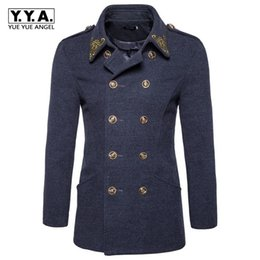 Wholesale Cashmere Overcoats Men - Retro British Double Breasted Mens Wool Blends Coat Fashion Embroidery Lapel Collar Male Overcoat Winter Woolen Trench Sobretudo