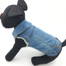 2019 xxl costumes d'halloween pour chiens Summer Chiot Chien Gilet Denim Veste Costume Top Mode Jeans Vêtements Pour Petits Grands Chiens-Bleu-Xs -Xxl promotion xxl costumes d'halloween pour chiens