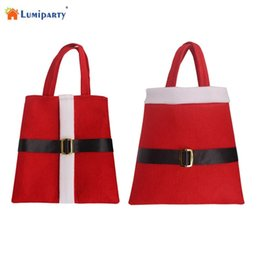 Wholesale Black Santa Ornaments - LumiParty 21*22cm Large Santa Belt Toy Bag Candy Gift Wrap Bag Sack for Holiday Christmas Decor Gifts -25