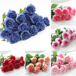 Wholesale latex rose bouquet - 8pcs Touch Real Latex Rose Silk Artificial Flowers Bouquet Bridal Bridesmaid Wedding Bouquet Wedding Party Home Decor