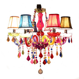 Wholesale White Gold Semi Mounts - Newest Crystal Chandelier Lamps 6 8 12 15 18 Lights with fabric shade Multicolor Kids Room Ceiling Decor Crystal Pendant Light Fixture