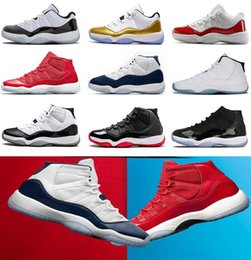 Wholesale Mens Shoes 45 - 2018 Mens Basketball Shoes 11 Gym Red Chicago Midnight Navy WIN LIKE 82 UNC Space Jam 45 11s Athletic Sport Sneakers