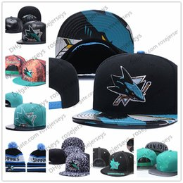 Wholesale blue shark size - San Jose Sharks Ice Hockey Knit Beanies Embroidery Adjustable Hat Embroidered Snapback Caps Black Teal White Stitched Hats One Size