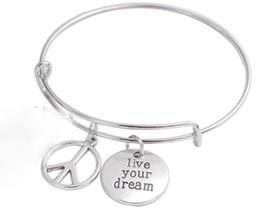 Vintage Silver vivre votre rêve signe de la paix bracelets extensible fil bracelet punk manchette de mariage bracelets pour femmes bijoux cadeau de mode ? partir de fabricateur