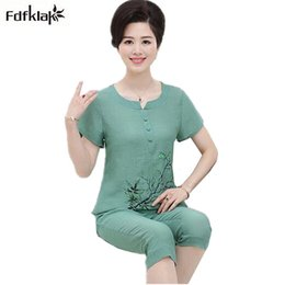 216deafda8 2XL 3XL 4XL Women summer pajamas short sleeve printing cotton linen pajama  set ladies sleepwear pijamas pyjama femme coton