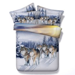 Wholesale Wolf Bedding Sets - 100%cotton twin full queen king super king size 3d animal wolf bedding set 4 5pcs home textile free shipping via UPS