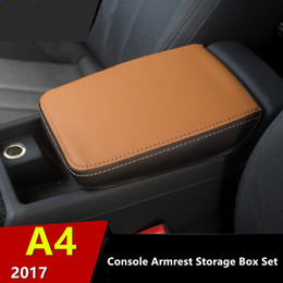 audi a4 bracciolo Sconti La scatola di braccioli della console di cuoio decorativa protegge la copertura per Audi A4 2017 automobile anti-sporca fissata fondina di scatola corrimano centrale