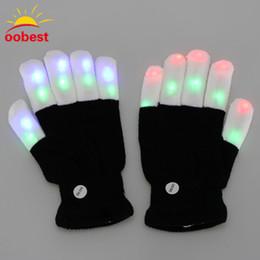 suprimentos de festa de luz negra Desconto 2 pcs LED Glow Luvas Rave Luz Piscando Dedo Luvas de Iluminação Magia Luvas Pretas Fontes Do Partido Decoração de Natal