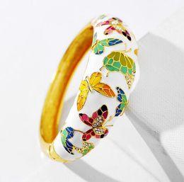 Canada Haute Qualité Charme Papillon Émail Bracelets Bracelets Pour Les Femmes De Noël Cristal Strass Bijoux MLY4347 supplier enamel butterfly jewelry Offre