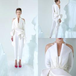 vestido de noite linha personalizada Desconto 2019 AzziOsta Branco Vestidos de Baile V Pescoço Mulheres Manga Comprida Macacão Lace Apliques de Contas Custom Made Vestido de Noite Vestidos de Noivado
