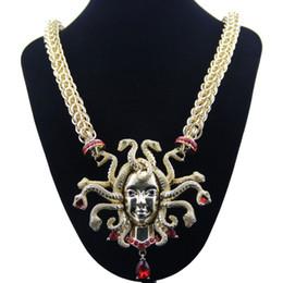 ожерелье цепи змейки золота 14k Скидка Ретро Девять Змея Голова Ожерелье Женщины Ключицы Золотая Цепочка Преувеличения Большой Размер Ожерелье Шарм для Женщин