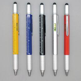 2019 penna capacitiva dello stilo del metallo Multifunzione 6 in 1 Penna a sfera Penna a sfera Cacciavite Righello Livella Cellulare Touch Screen Riparazione penna stilo