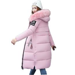 Atacado- nova moda grande gola de pele casaco mulheres parka longo grosso de algodão acolchoado jaqueta feminina 2017 inverno parkas senhoras casacos preto ZZ100 de Fornecedores de senhoras parka amarela