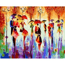 Wholesale People Oil Painting Canvas - Abstract Wall Art Frameless Pictures Painting By Numbers Home Decor Hand Painting Oil On Canvas For Living Room People in the rain
