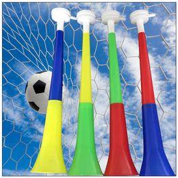 Wholesale horn cups wholesale - 2018 World Cup Football Fan Plastic Horn Vuvuzela Horn Cheer Horns National Flag Trumpet Whistle Noise Maker Novelty Items CCA9521 250pcs