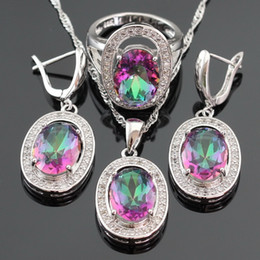 Wholesale Jade Jewelry Box China - Multicolor Rainbow Crystal Silver Color Bridal Jewelry Sets For Women Earrings Necklace Pendant Ring Free Gift Box Made in China