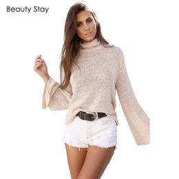 Wholesale Open Flare - BeautyStay Bandage Back Open Lace Up Tie Knitted Blouse Women Tops Loose Sexy Ladies Pullovers Lace Up Tees Hollow Out Shirts
