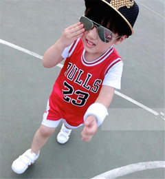 Wholesale Girls Red Tracksuits - Kids Tracksuits Boys Girls Summer Sports Suits Sleeveless Clothing Basketball 23 Bulls Tops Shirts Shorts Sets Child Casual Sportwear