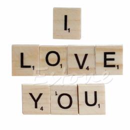 Wholesale Wholesale Scrabble Tiles - Wholesale- 100pcs Wooden Alphabet Scrabble Tiles Black Letters & Numbers For Crafts Wood