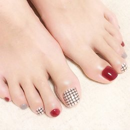 designer nails tips Coupons - Popular 24pcs Toe False Nails Grids Style Full Cover Solid Wine Red Milk Nail Tips New Nail Art Designer Decor with Glue Sticker