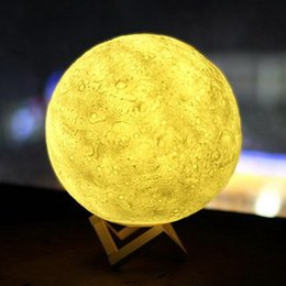 Wholesale Home Gift Wholesale - Rechargeable 3D Print Moon Lamp 2 Color Change Touch Switch Bedroom Bookcase Night Light Home Decor Creative Gift DHL