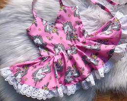 Wholesale Kids Dress Designs Cotton - 2018 new designs infant baby girl little pony suspender dress little kids lace princess party dress