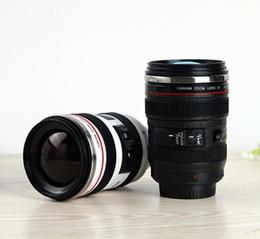 2019 caneca da lente branca 50 pcs 6Geração de aço inoxidável forro de viagem térmica café câmera lente caneca copo 400 ML Preto branco DHL Livre desconto caneca da lente branca