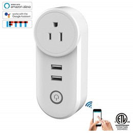 Wholesale port work - Smart USB Wifi Plug, 1 AC Outlet and 2 USB Port Remote Controlled, Work with Alexa and Google Home, Timer Function, ETL Listed