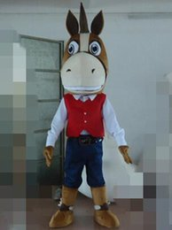 Wholesale Horse Fancy Dress - New Adult cute New Design Cool Horse Mascot Costume Fancy Dress Hot Sale Party costume Free Ship