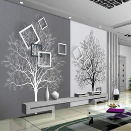 Murais de árvores negras on-line-Papel de parede 3d rolos de papel de parede para paredes 3d murais hd preto e branco árvore simples 3d tv fundo papéis de parede melhoria home