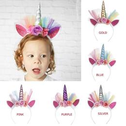 vente en gros 4ème july headbands Promotion 5 couleurs Licorne cheveux bâtons fille Fleurs colorées avec Shinny Ear Mesh Licorne hairband anniversaire Licorne cheveux bâtons enfants accessoire de cheveux