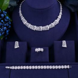 conjunto de jóias de aço inoxidável de urso Desconto Janekelly luxo cubic zirconia colar pulseira brincos e anel 4 pcs dubai conjunto completo de jóias para as mulheres, vestido de noiva jantar