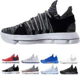 zapatos de baloncesto kevin durant Rebajas Zoom KD 10 Aniversario PE BHM Rojo Oreo triple negro Hombres Zapatos de baloncesto Elite Low Kevin Durant Athletic Sport Sneakers tamaño 40-46
