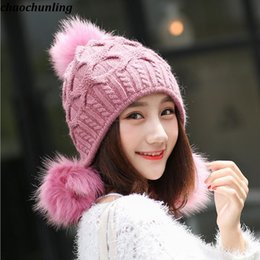 fb2bffe70ef Korean Style 2018 New Winter Lady Super Warm Wool Balls Caps Lady Double  Thickened Imitation Rabbit Hair Knitted Hats 6Colors