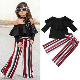 Dessus rayé blanc rouge en Ligne-Kid Girl Off épaule Top + Noir Rouge Blanc Rayé Bellbottoms 2pcs ensemble Oufit Bowknot Bébé Filles Vêtements Toddler Fashion Boutique Costume