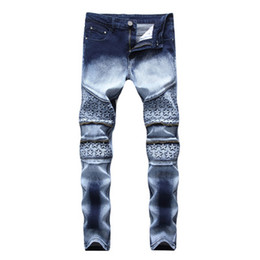 vintage leggings Coupons - Star Printed Straight Pants Jeans New Fashion Cool Streetwear Men Dark Blue And White High Elastic Demin Slim Fit Jeans Leggings