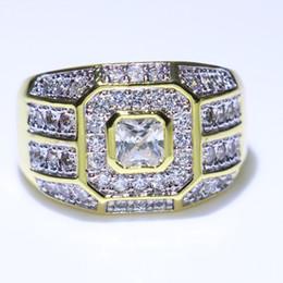 Relleno caliente online-Hot 2018 Brand New Choucong Luxury Jewelry 925 SilverGold Fill Princess Pave anillos de dedo Topacio blanco CZ Diamond Band anillo para hombre regalo